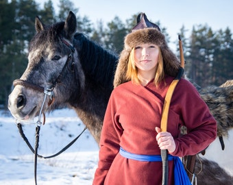 Mongolian Deel, Asian Historical Wool Coat, Archer costume, Mongolian LARP cosplay