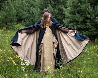 Hooded cloak,  Medieval cloak, Viking cloak, Hooded cape, Historical cloak, Lined cloak, Fantasy cloak, Celtic cloak