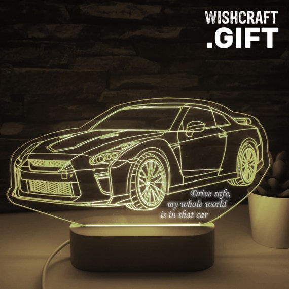 Nissan GTR Led Lamp, 3D Nissan Sport Car Night Light, 3D Illusion, Nissan GT-R LED Lamp, Gift for the carlovers, wagen, auto, voiture, coche