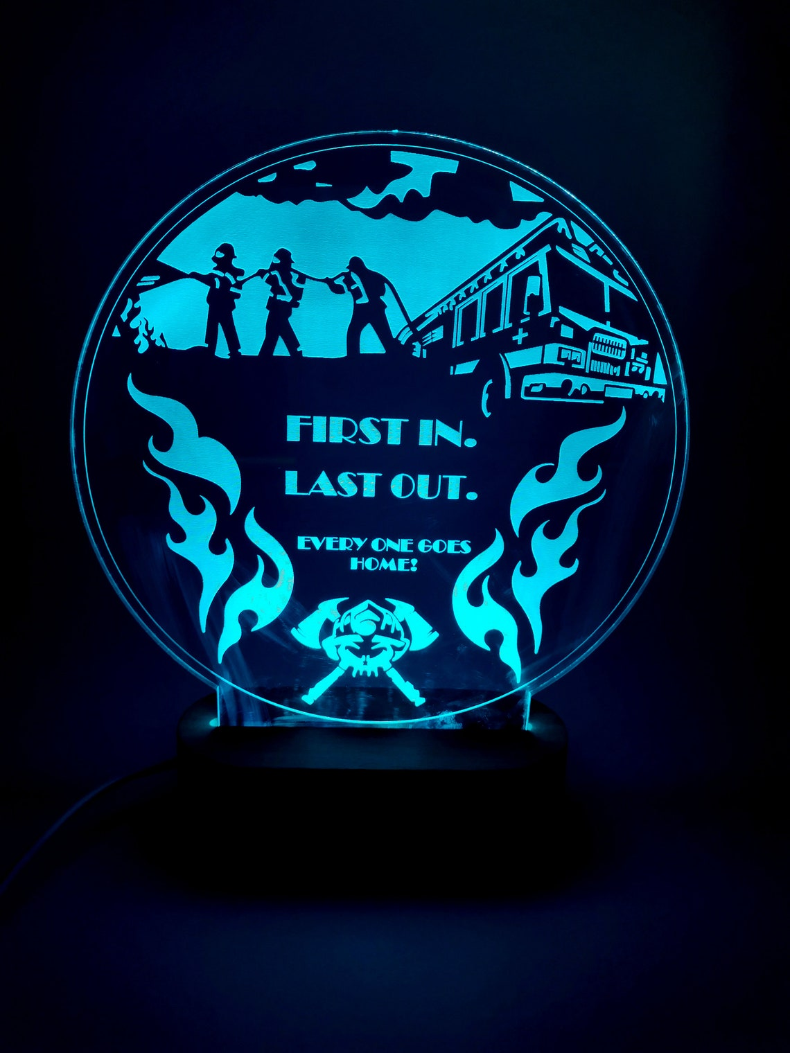 Led lamp Gift for Firefighter Personalization free Firefighter Logo Multicolored LED Desk, Table, Night Lamp - Eclairage