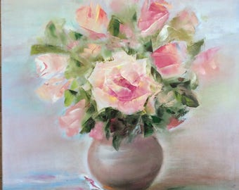 wall canvas flower pink roses oil painting colorful wall canvas living room original fairytale gift ideas blue giclee art wall decor