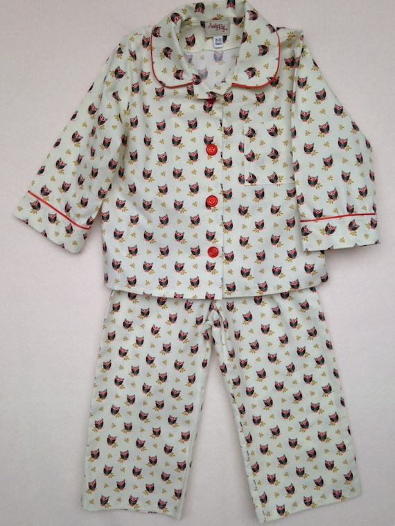 1d128dbd35fb Traditional Cotton Pyjamas in Owl Print Cream