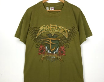 """7dbd9094a0da2c Rare!! vintage 90s EAGLES """"hell freezes over"""" 1995 world tour promo  tshirt/american rock band/green/large/avs164"""