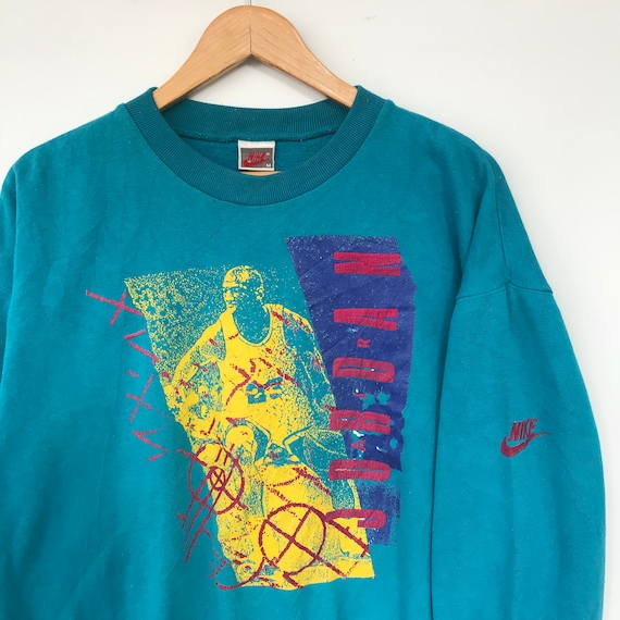90s Gray Sweatshirt Jordan Nike Crewneck Vintage Green Tag Air Size 484xF