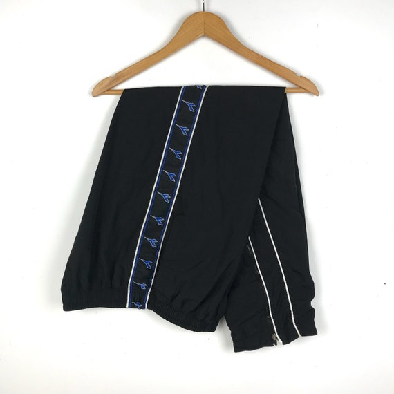 Vintage 90s DIADORA side tape logo trackpants/blac