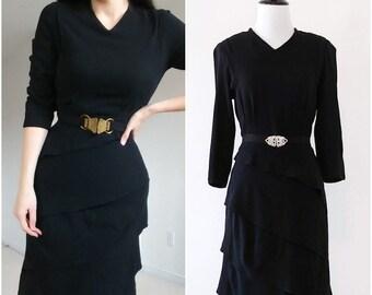 Vintage 1940's Tiered Ruffle Skirt Dress | 1940's Little Black Dress | 1940's Dress |