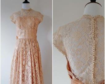 Vintage 1950's Champagne Lace and Open Back Dress | Vintage 1950's Lace Dress |
