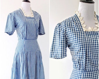 Vintage 1930's Blue Gingham Dress | 1940's Gingham Dress |