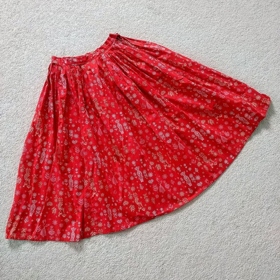 Vintage 1950s Folk Art Skirt | 50s Novelty Print S