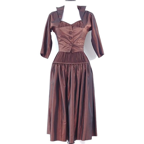 Vintage 1950s Sharkskin Taffeta Dress Set | 1940s… - image 1