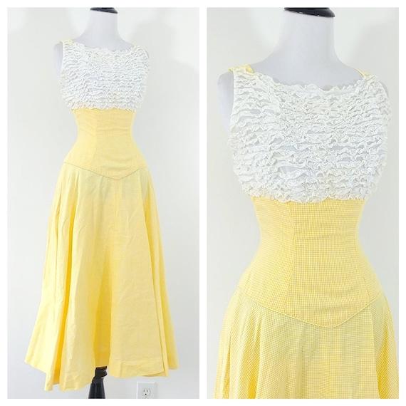 Vintage 1950s Yellow Gingham Dress | 50s Sundress