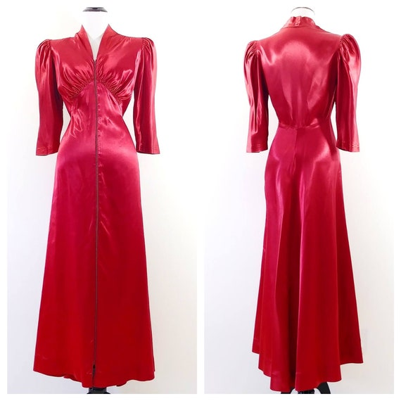 Vintage 1940s Liquid Satin Dressing Gown | 30s Red