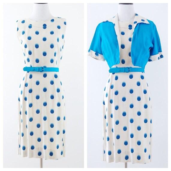 Vintage 1950's Polka Dot Dress Set | 1950's Wiggle