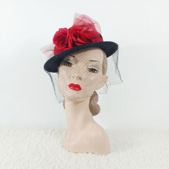 Vintage 1940s Tilt Hat | 40s Navy Hat | 40s Floral