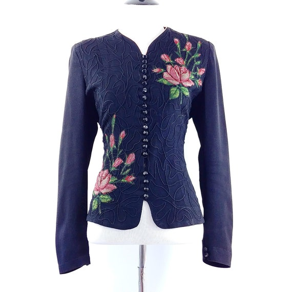 Vintage 1940's Blouse | 40s Jacket | 40s Rose Prin