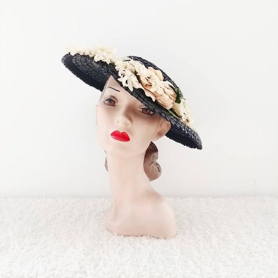 Vintage 1940s Wide Brimmed Hat | 40s Tilt Hat | 40