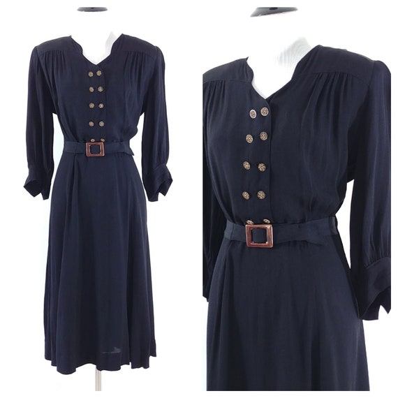 Vintage 1940's Dress | 1930's Dress | Late 30s Dre