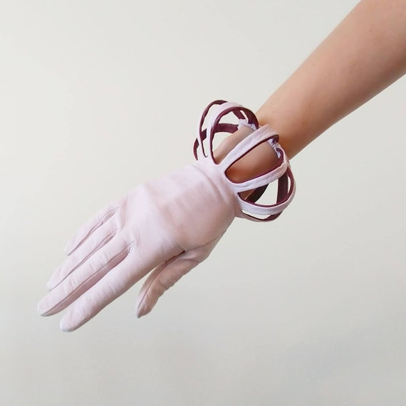 Rare 1950s Vintage Pink and Brown Gloves | 50s Cut