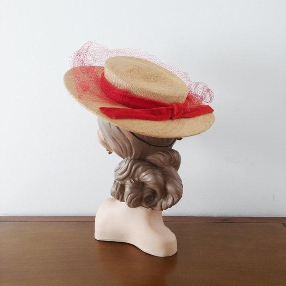 Vintage 1940s Tilt Hat | 40s Boater Hat | 40s Stra