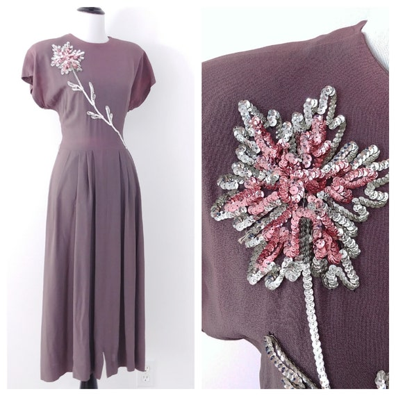 Vintage 1940s Sequin Dress | 40s Sequined Dress |