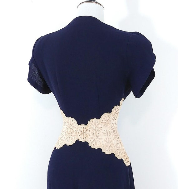 Vintage 1940s Lace Midriff Gown | 40s Navy Blue D… - image 7