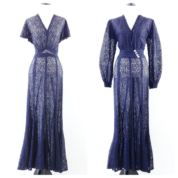 Vintage 1930s Navy Blue Lace Gown | 30s Dress Set