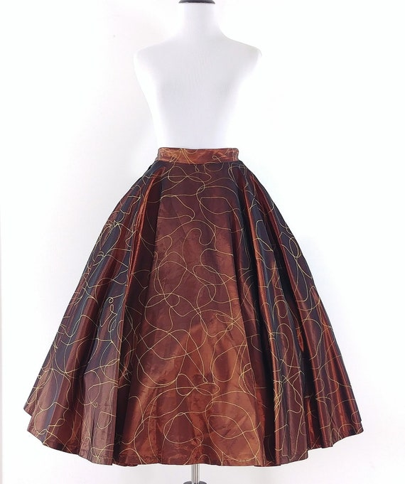 Vintage 1950's Copper Sharkskin Circle Skirt | 50s
