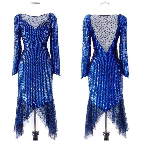 Vintage 1980's Sequin Avant-Garde Dress | 80s Sequ