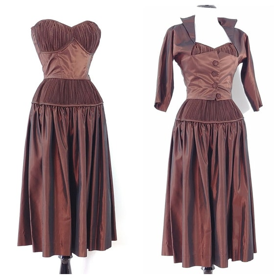Vintage 1950s Sharkskin Taffeta Dress Set | 1940s… - image 6