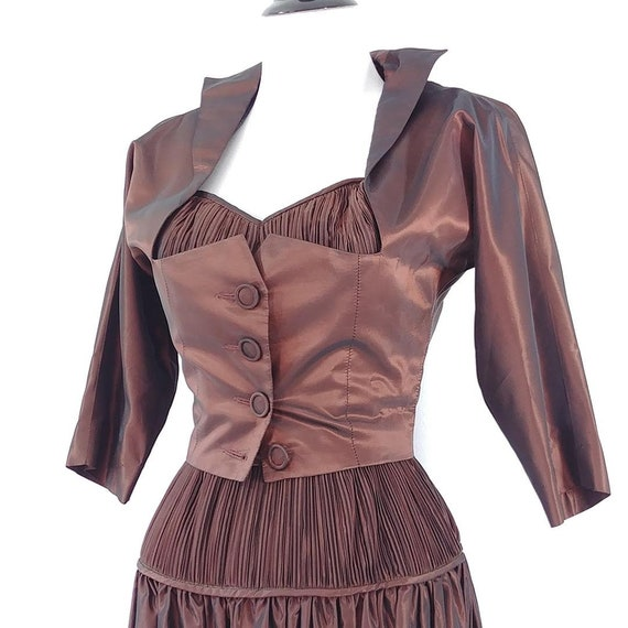 Vintage 1950s Sharkskin Taffeta Dress Set | 1940s… - image 4