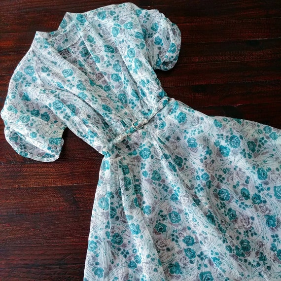 Vintage 1950s Turquoise Rose Print Dress | 50s Ros