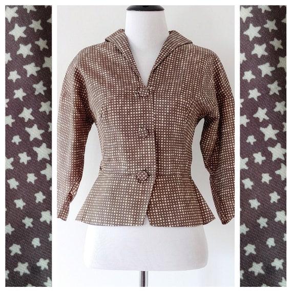Vintage 1940s Novelty Print Jacket   1950s Star Pr