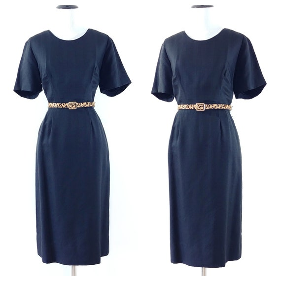 Vintage 1950's Silk Wiggle Dress | 50s Black Penci