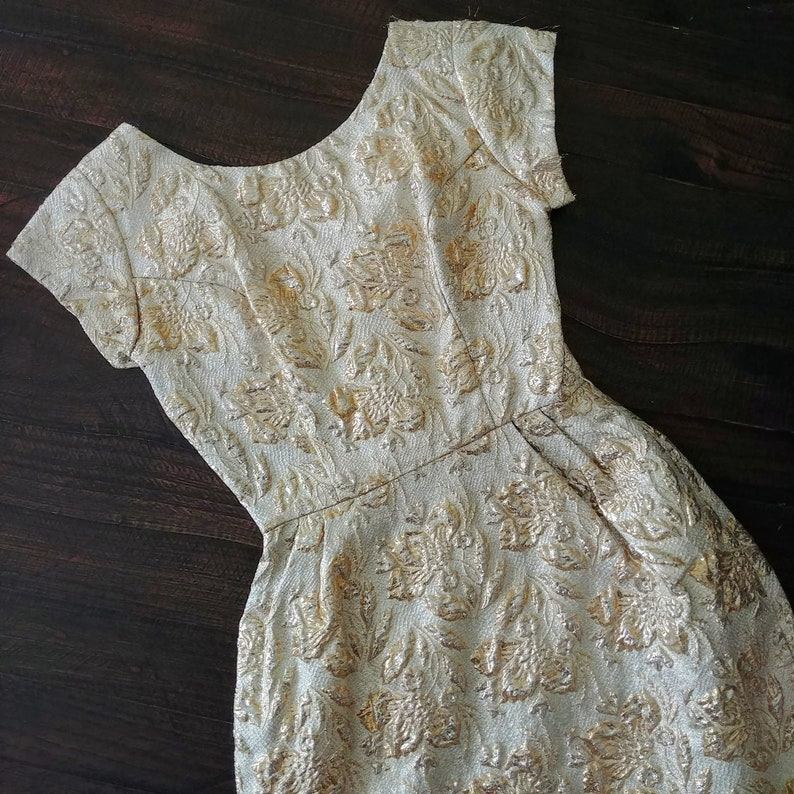 60s Wiggle Dress | Vintage 1950s Lame Dress 50s Wiggle Dress 1960s Dress