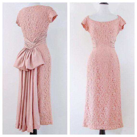 Vintage 1950s Lace Wiggle Dress | 50s Sash Dress |