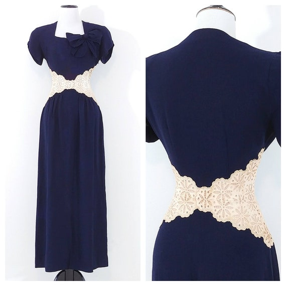 Vintage 1940s Lace Midriff Gown | 40s Navy Blue Dr