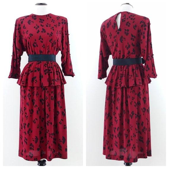 Vintage 1980s Paw Print Dress | 80s Red Black Dres