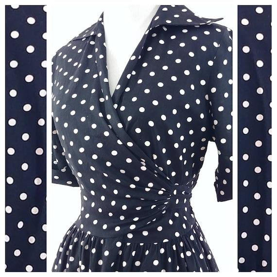 Vintage 1950s Polka Dot Wrap Dress | 50s Wrap Dres