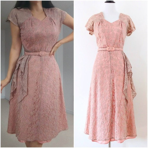 Vintage 1940's Pink Lace Dress | 1940's Dress With