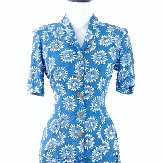 Vintage 1940s Blouse and Skirt Set | 40s Summer S… - image 4