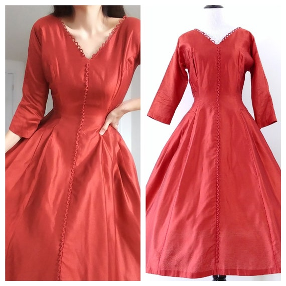 Vintage 1950's Fit and Flare Dress | 50's Red Dres