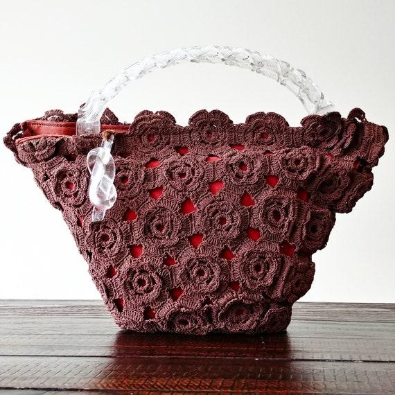 Vintage 1940s Brown Crochet Cord Handbag | 40s Han