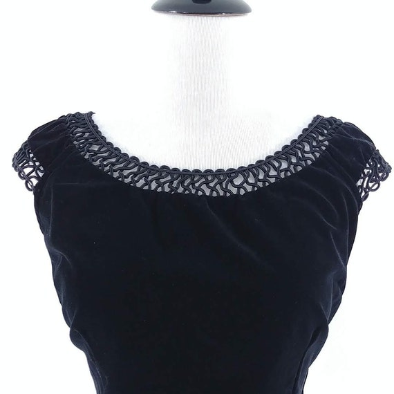 50s Blouse Vintage 1950s Black Velvet Top 50s Top