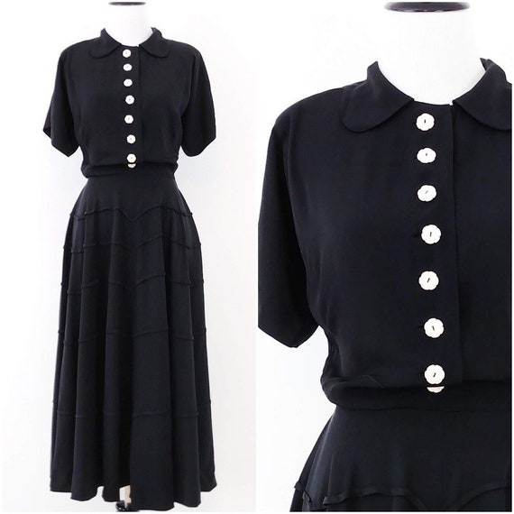 Vintage 1940's Black Dress | 1940's Shirtwaist Dre