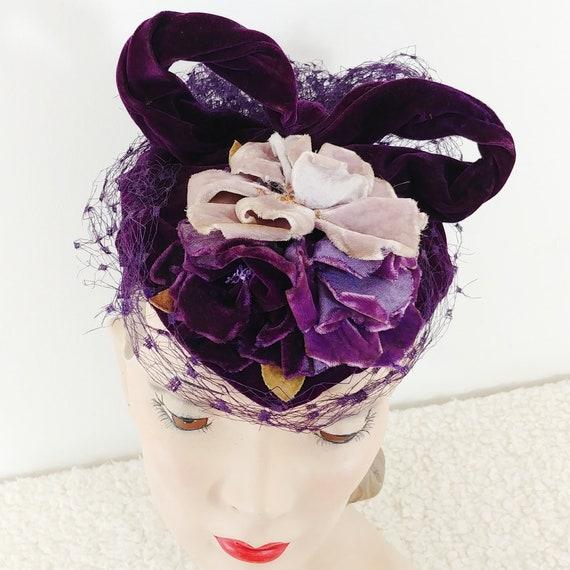 Vintage 1930s Purple Velvet Hat | 40s Velvet Hat … - image 3