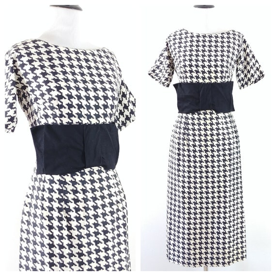 Vintage 1950's Houndstooth Bow Waist Wiggle Dress