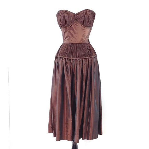 Vintage 1950s Sharkskin Taffeta Dress Set | 1940s… - image 2