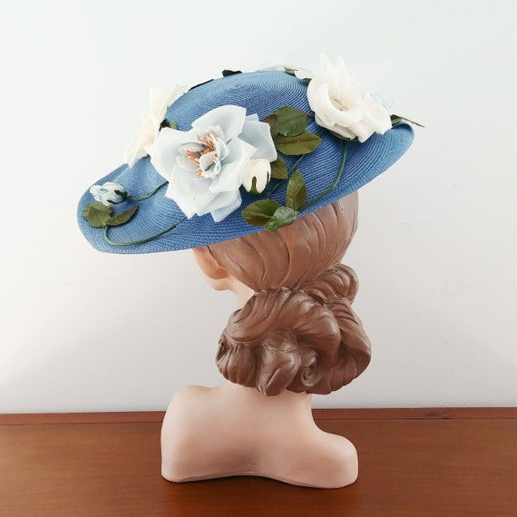 Vintage 1950s New Look Hat | 50s Floral Hat | 50's