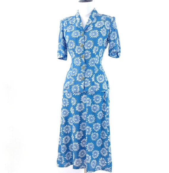 Vintage 1940s Blouse and Skirt Set | 40s Summer S… - image 3