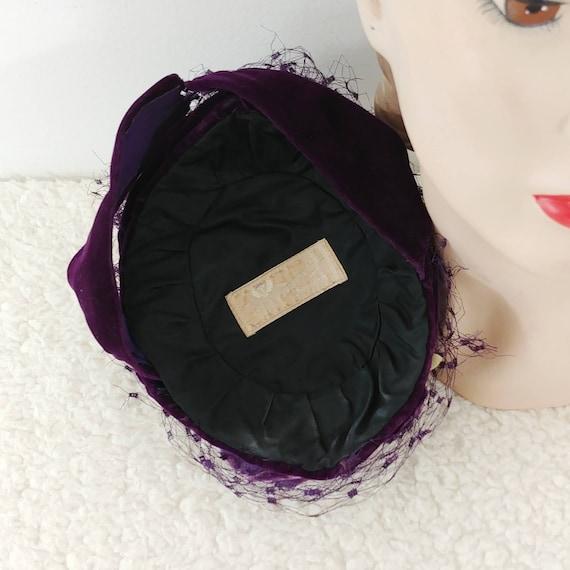 Vintage 1930s Purple Velvet Hat | 40s Velvet Hat … - image 6